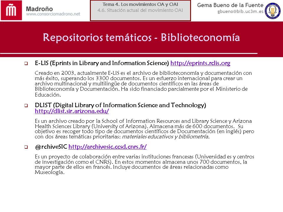 Repositorios temáticos - Biblioteconomía