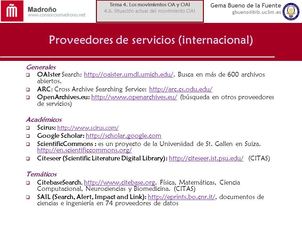 Proveedores de servicios (internacional)
