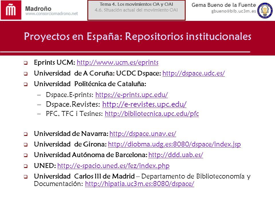 Proyectos en España: Repositorios institucionales