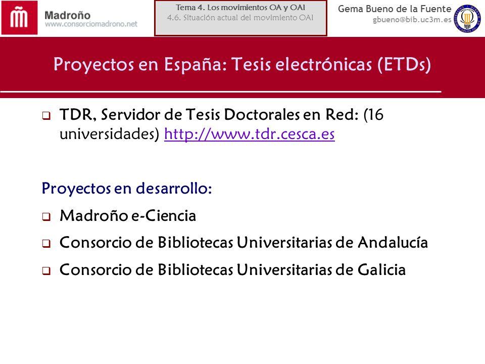 Proyectos en España: Tesis electrónicas (ETDs)