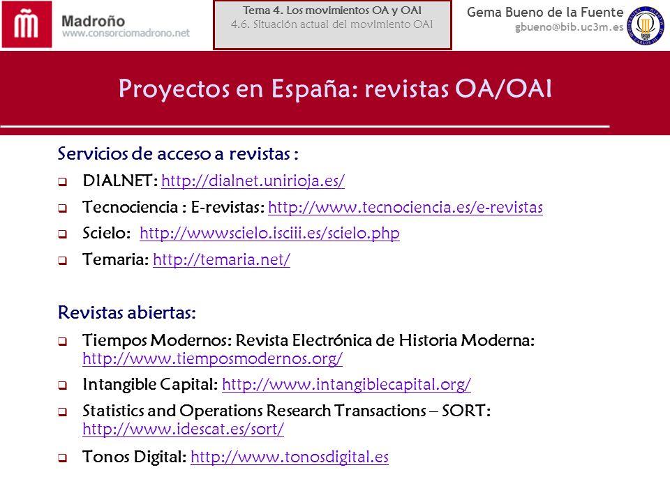 Proyectos en España: revistas OA/OAI