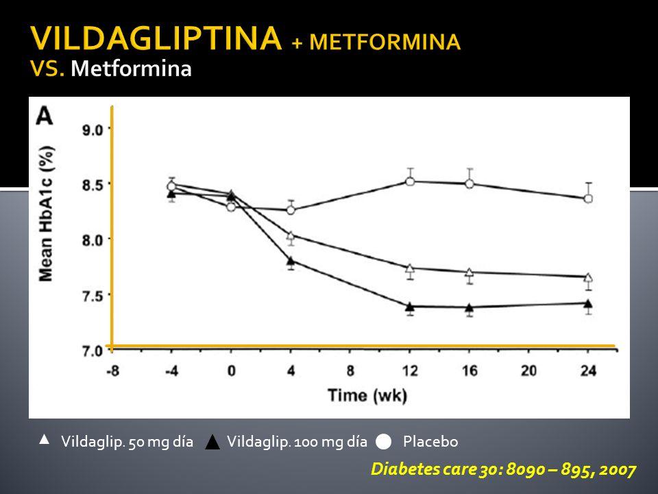 VILDAGLIPTINA + METFORMINA VS. Metformina