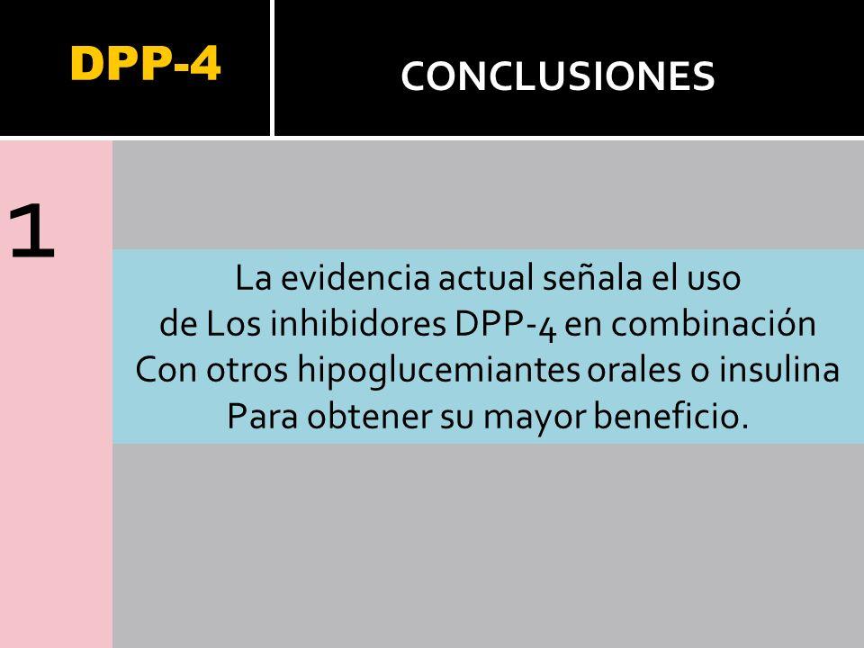 1 DPP-4 CONCLUSIONES La evidencia actual señala el uso