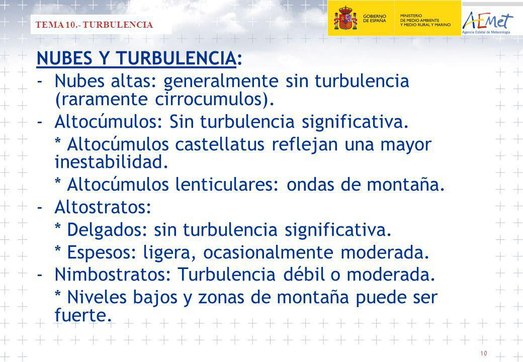 - Nubes altas: generalmente sin turbulencia (raramente cirrocumulos).