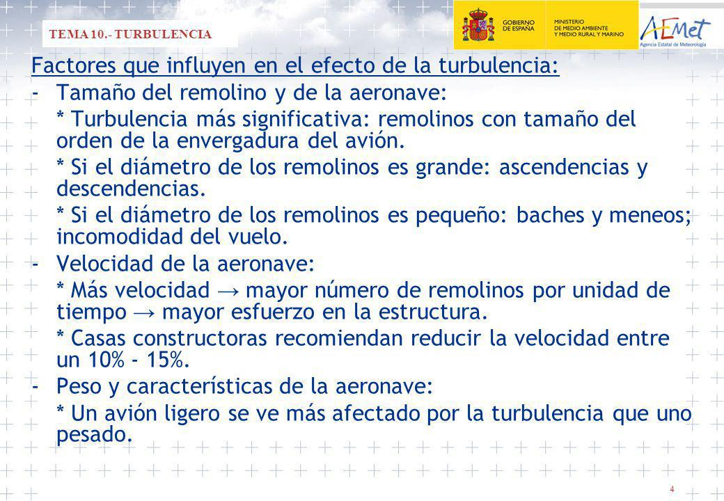 Factores que influyen en el efecto de la turbulencia: