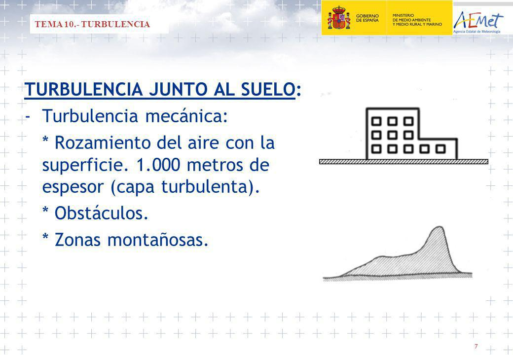 TURBULENCIA JUNTO AL SUELO: - Turbulencia mecánica: