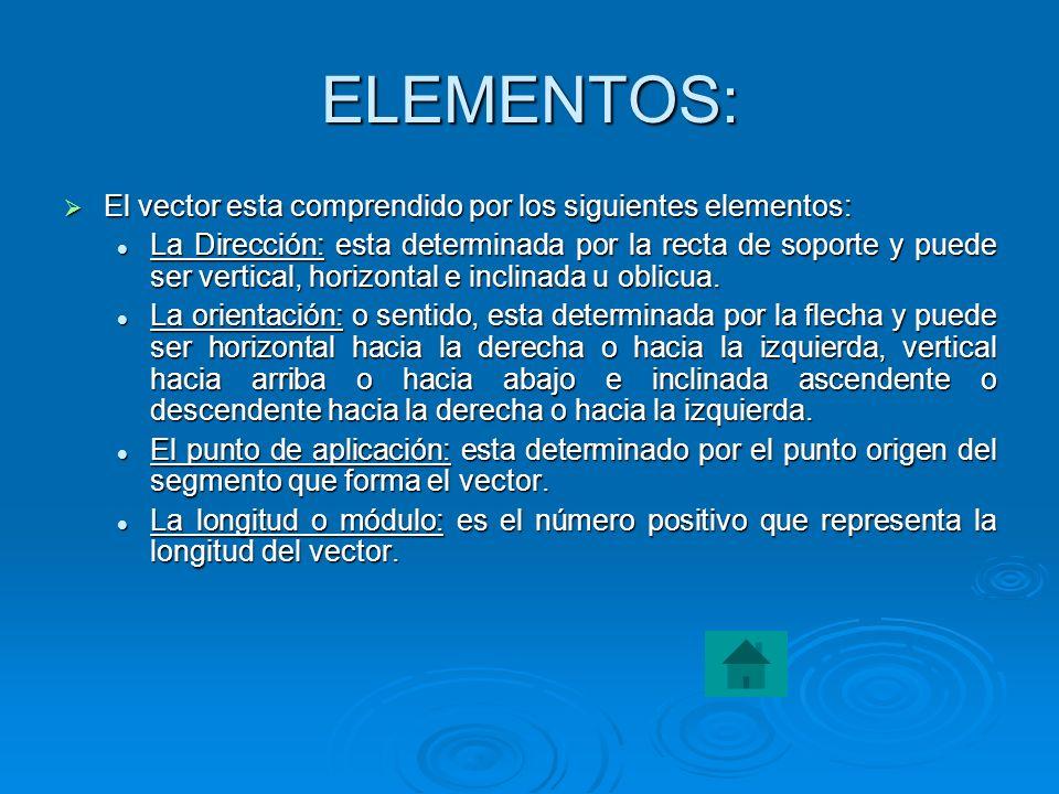 ELEMENTOS: El vector esta comprendido por los siguientes elementos: