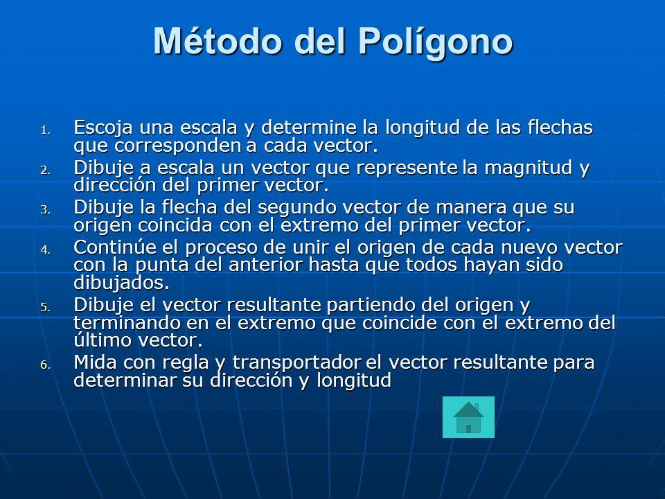 Método del Polígono Escoja una escala y determine la longitud de las flechas que corresponden a cada vector.