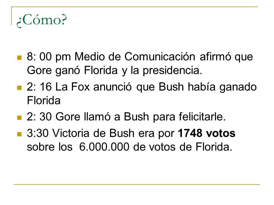 ¿Cómo 8: 00 pm Medio de Comunicación afirmó que Gore ganó Florida y la presidencia. 2: 16 La Fox anunció que Bush había ganado Florida.