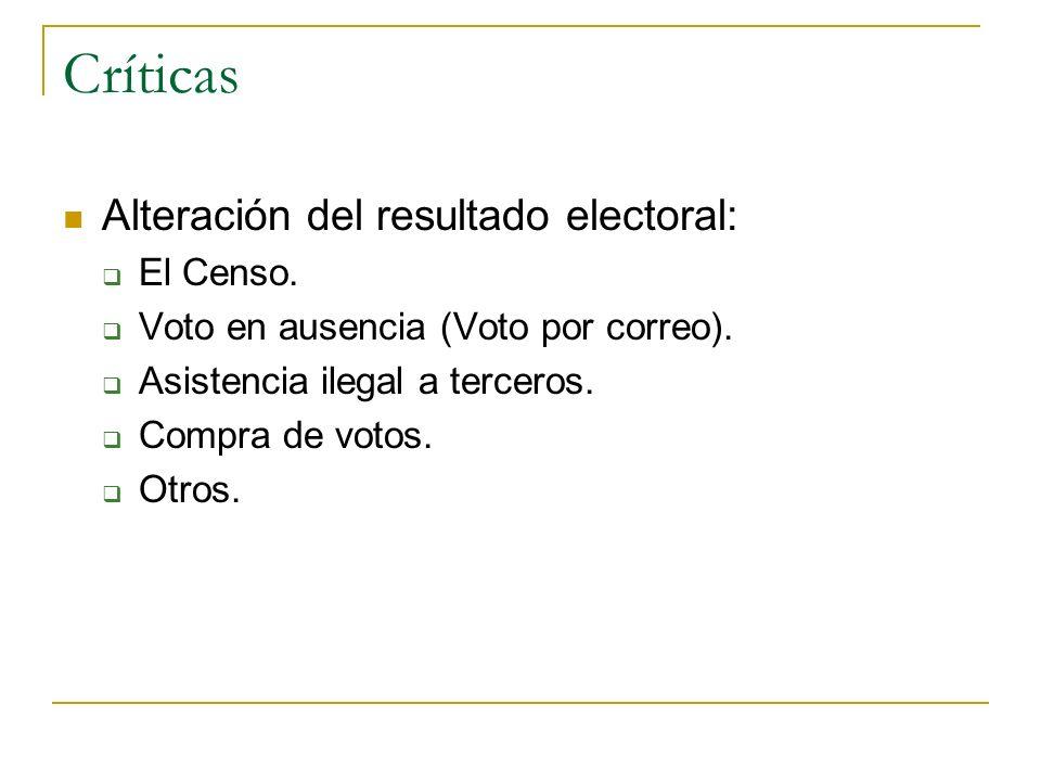 Críticas Alteración del resultado electoral: El Censo.