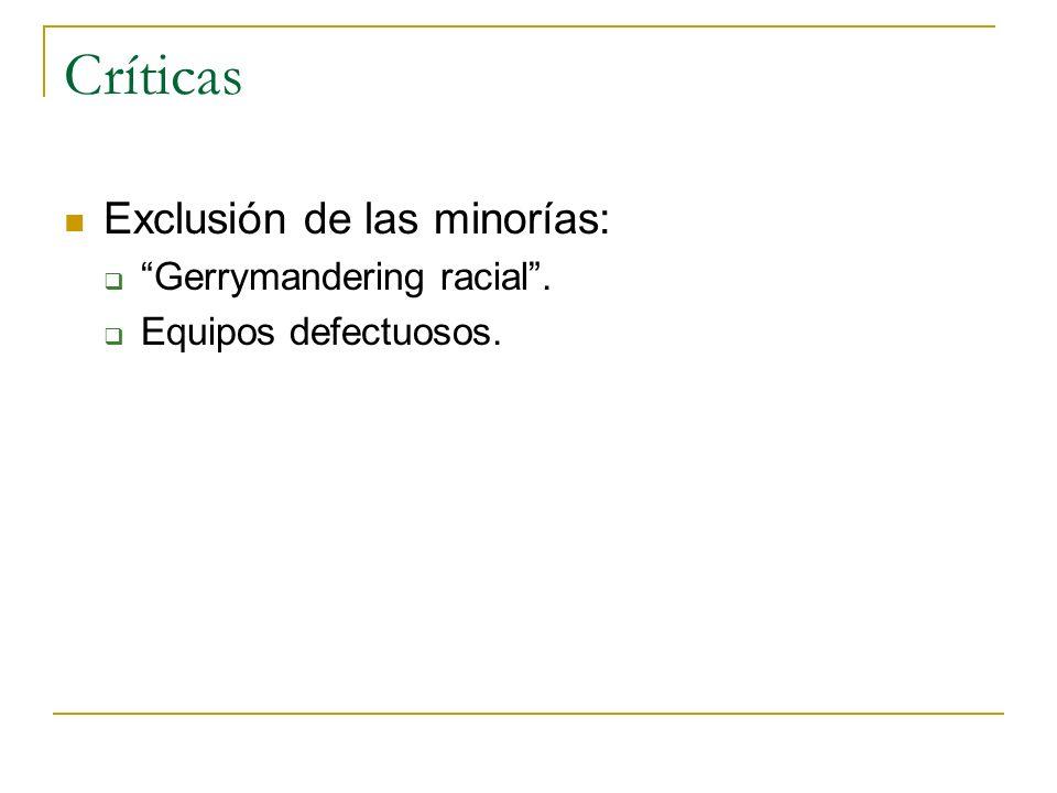 Críticas Exclusión de las minorías: Gerrymandering racial .