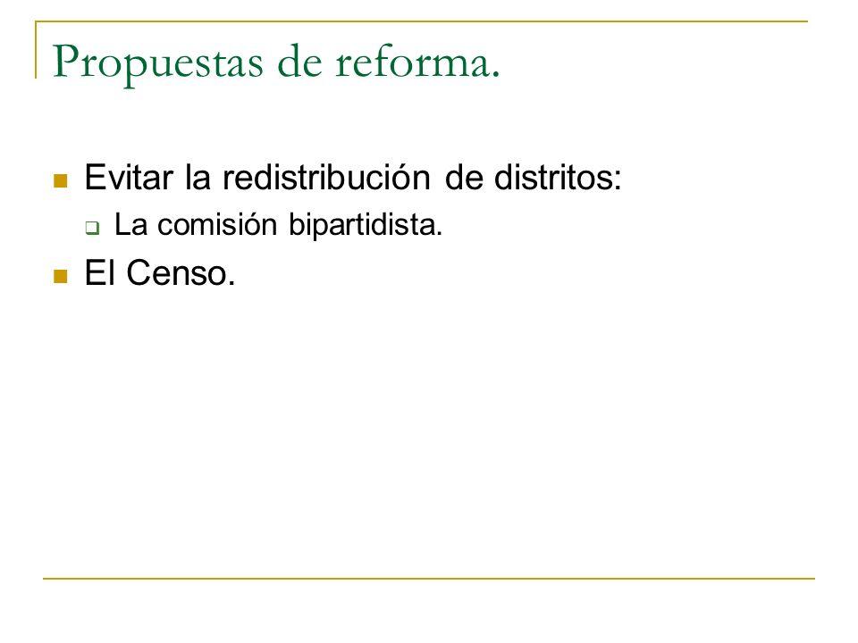 Propuestas de reforma. Evitar la redistribución de distritos: