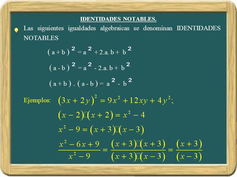 IDENTIDADES NOTABLES. Las siguientes igualdades algebraicas se denominan IDENTIDADES NOTABLES. ( a + b ) ² = a ² + 2.a. b + b ².