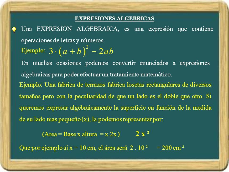 EXPRESIONES ALGEBRICAS