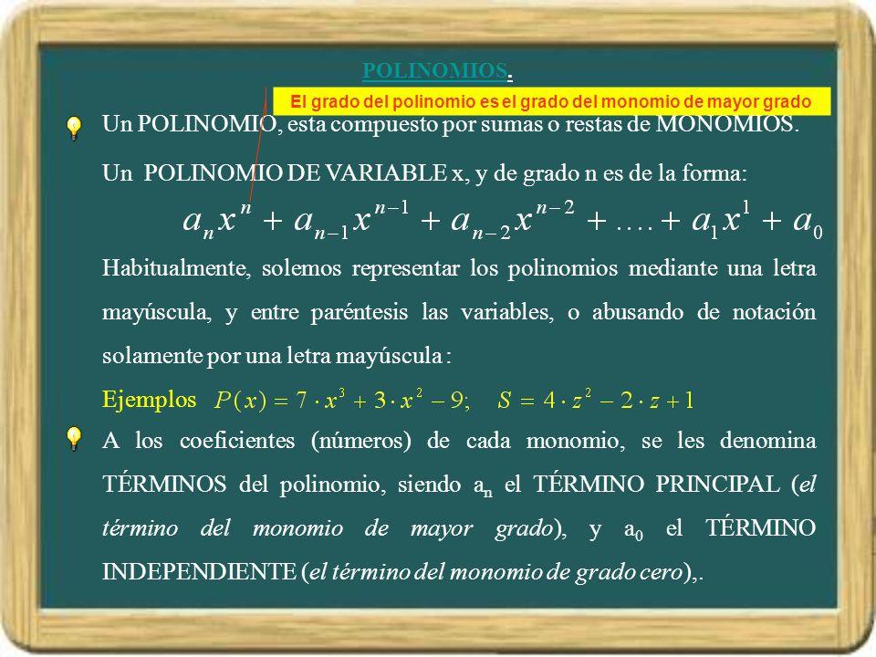 El grado del polinomio es el grado del monomio de mayor grado