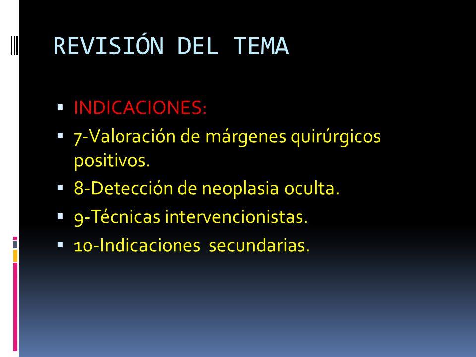 REVISIÓN DEL TEMA INDICACIONES: