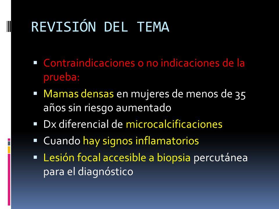 REVISIÓN DEL TEMA Contraindicaciones o no indicaciones de la prueba: