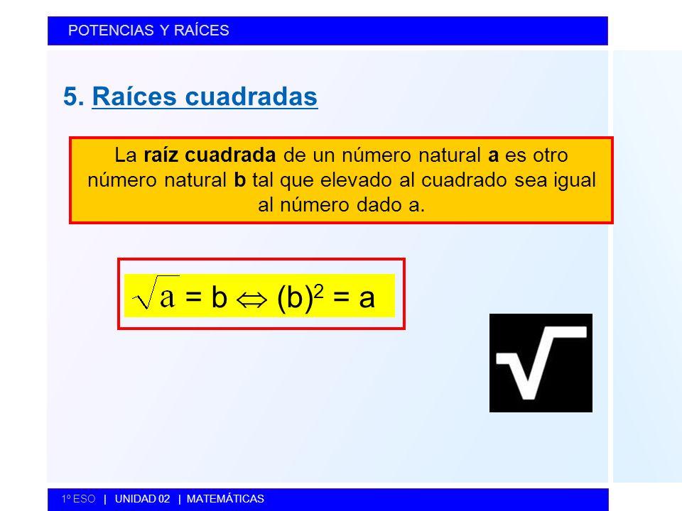 = b  (b)2 = a 5. Raíces cuadradas