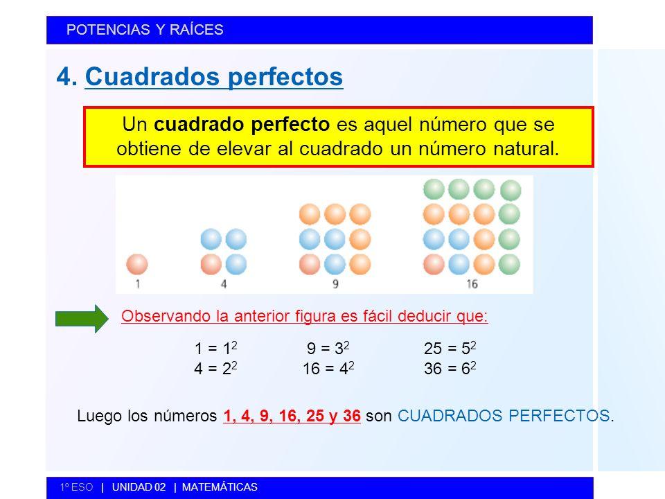 POTENCIAS Y RAÍCES 4. Cuadrados perfectos. Un cuadrado perfecto es aquel número que se obtiene de elevar al cuadrado un número natural.