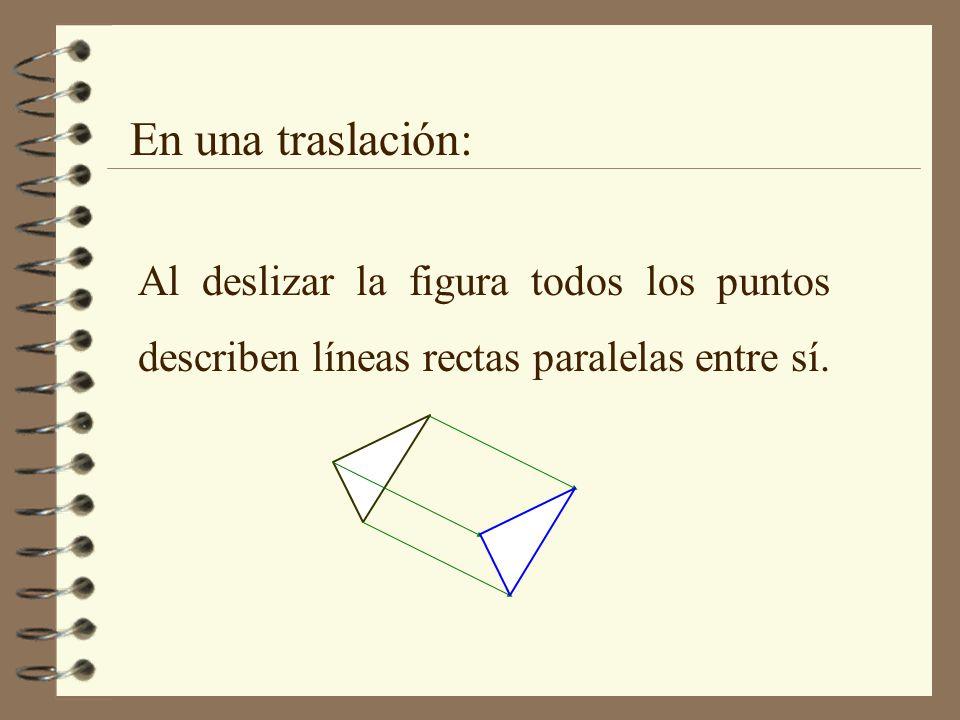En una traslación: Al deslizar la figura todos los puntos describen líneas rectas paralelas entre sí.