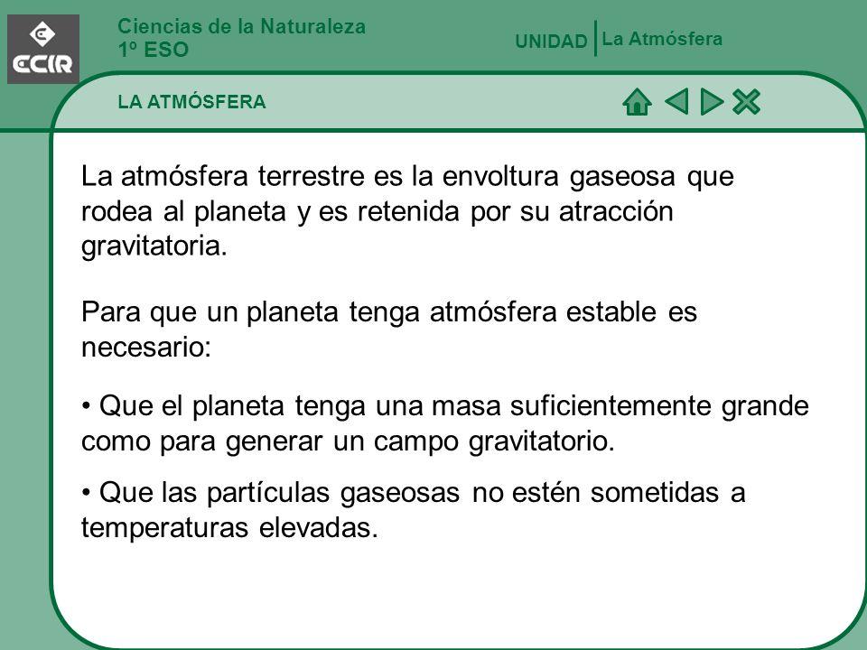 Para que un planeta tenga atmósfera estable es necesario:
