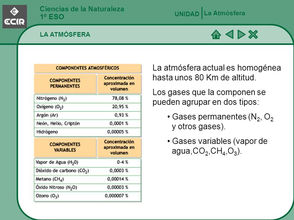 La atmósfera actual es homogénea hasta unos 80 Km de altitud.