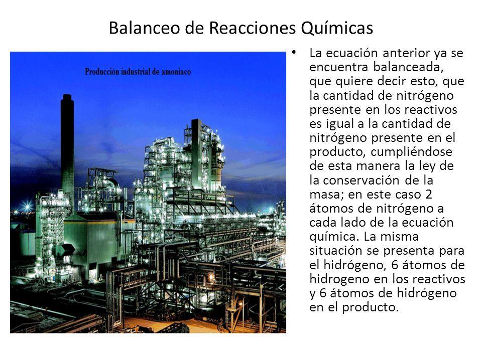 Balanceo de Reacciones Químicas