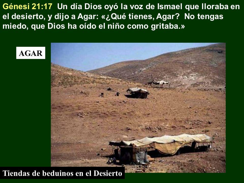 Génesi 21:17 Un día Dios oyó la voz de Ismael que lloraba en el desierto, y dijo a Agar: «¿Qué tienes, Agar No tengas miedo, que Dios ha oído el niño como gritaba.»