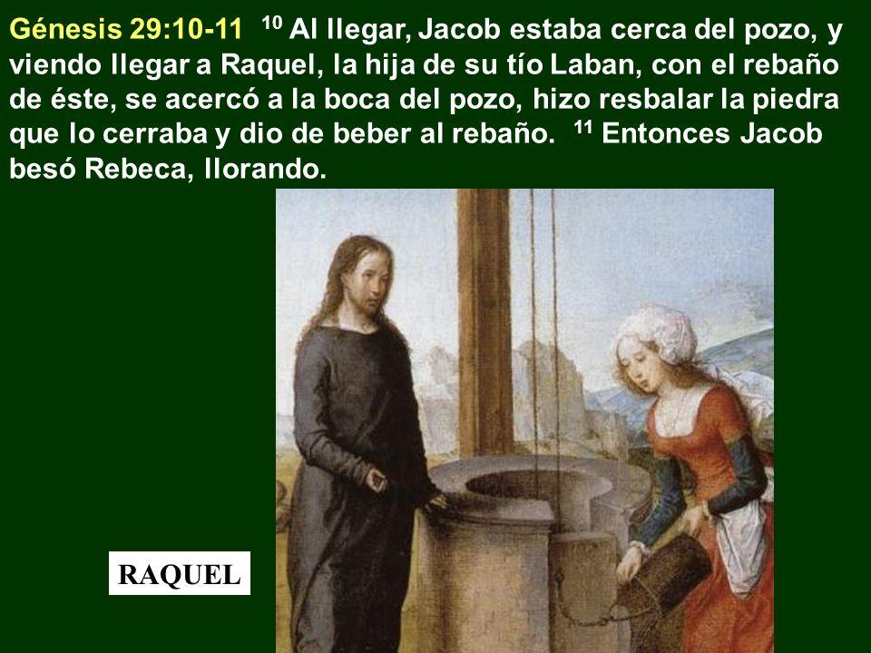 Génesis 29:10-11 10 Al llegar, Jacob estaba cerca del pozo, y viendo llegar a Raquel, la hija de su tío Laban, con el rebaño de éste, se acercó a la boca del pozo, hizo resbalar la piedra que lo cerraba y dio de beber al rebaño. 11 Entonces Jacob besó Rebeca, llorando.