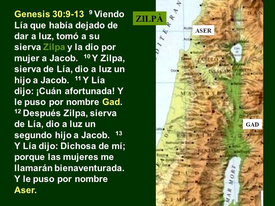 Genesis 30:9-13 9 Viendo Lía que había dejado de dar a luz, tomó a su sierva Zilpa y la dio por mujer a Jacob. 10 Y Zilpa, sierva de Lía, dio a luz un hijo a Jacob. 11 Y Lía dijo: ¡Cuán afortunada! Y le puso por nombre Gad. 12 Después Zilpa, sierva de Lía, dio a luz un segundo hijo a Jacob. 13 Y Lía dijo: Dichosa de mí; porque las mujeres me llamarán bienaventurada. Y le puso por nombre Aser.