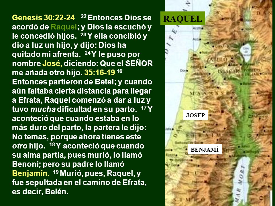 Genesis 30:22-24 22 Entonces Dios se acordó de Raquel; y Dios la escuchó y le concedió hijos. 23 Y ella concibió y dio a luz un hijo, y dijo: Dios ha quitado mi afrenta. 24 Y le puso por nombre José, diciendo: Que el SEÑOR me añada otro hijo. 35:16-19 16 Entonces partieron de Betel; y cuando aún faltaba cierta distancia para llegar a Efrata, Raquel comenzó a dar a luz y tuvo mucha dificultad en su parto. 17 Y aconteció que cuando estaba en lo más duro del parto, la partera le dijo: No temas, porque ahora tienes este otro hijo. 18 Y aconteció que cuando su alma partía, pues murió, lo llamó Benoni; pero su padre lo llamó Benjamín. 19 Murió, pues, Raquel, y fue sepultada en el camino de Efrata, es decir, Belén.