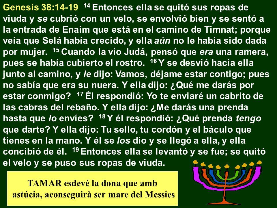 TAMAR esdevé la dona que amb astúcia, aconseguirà ser mare del Messies