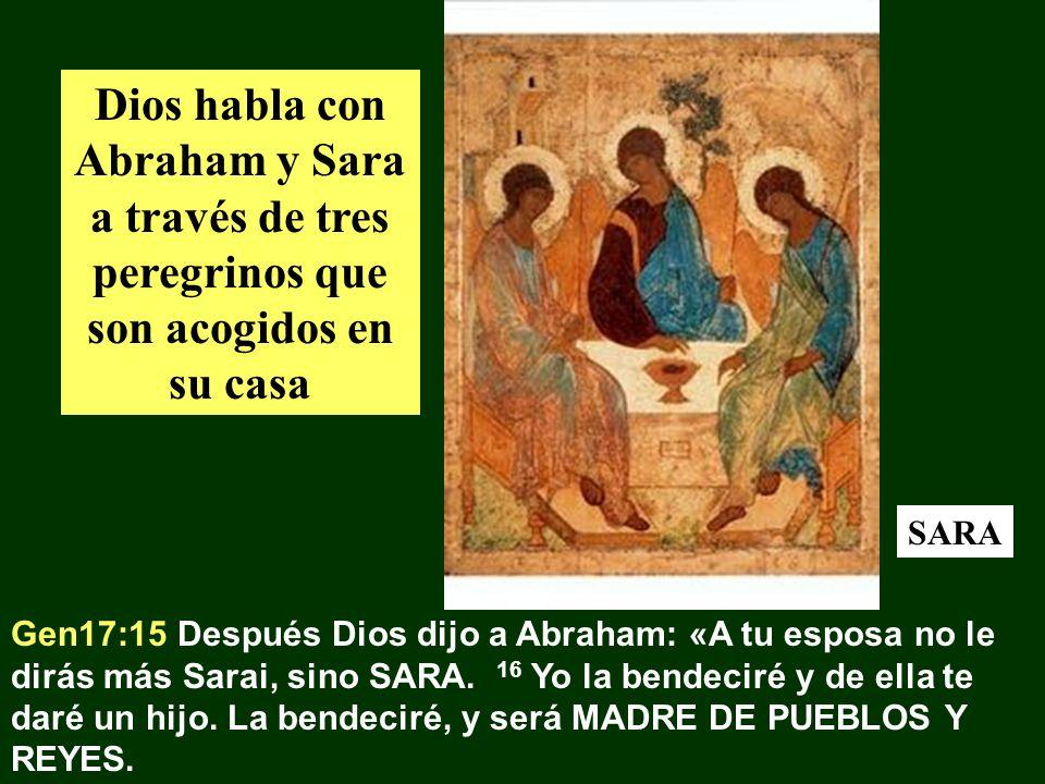 Dios habla con Abraham y Sara a través de tres peregrinos que son acogidos en su casa