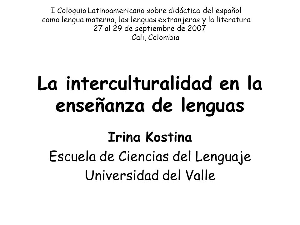 La interculturalidad en la enseñanza de lenguas