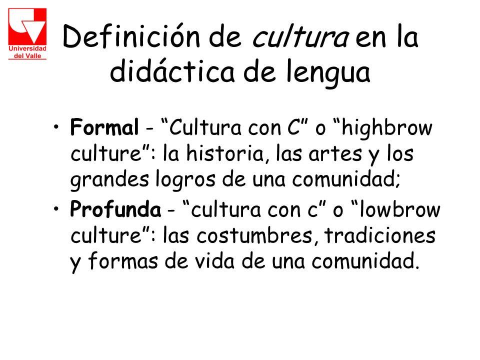 Definición de cultura en la didáctica de lengua