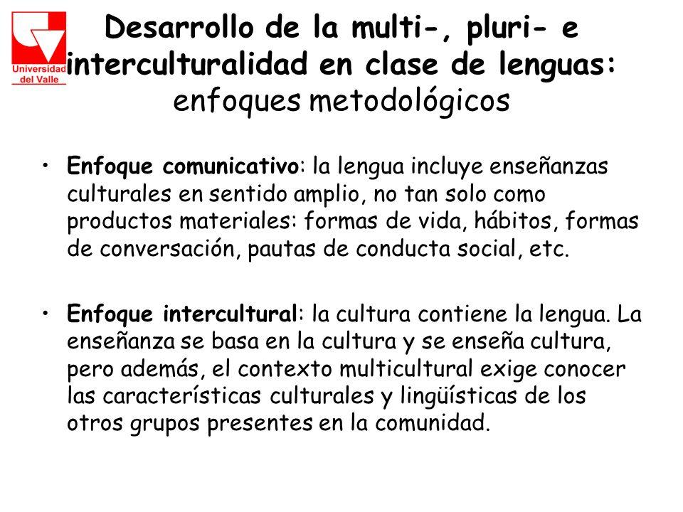 Desarrollo de la multi-, pluri- e interculturalidad en clase de lenguas: enfoques metodológicos