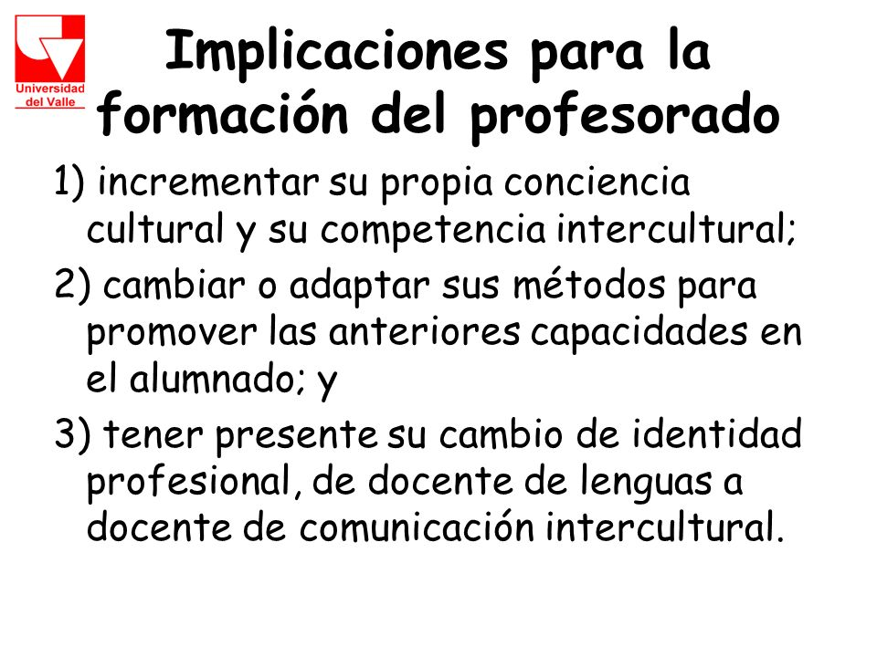 Implicaciones para la formación del profesorado