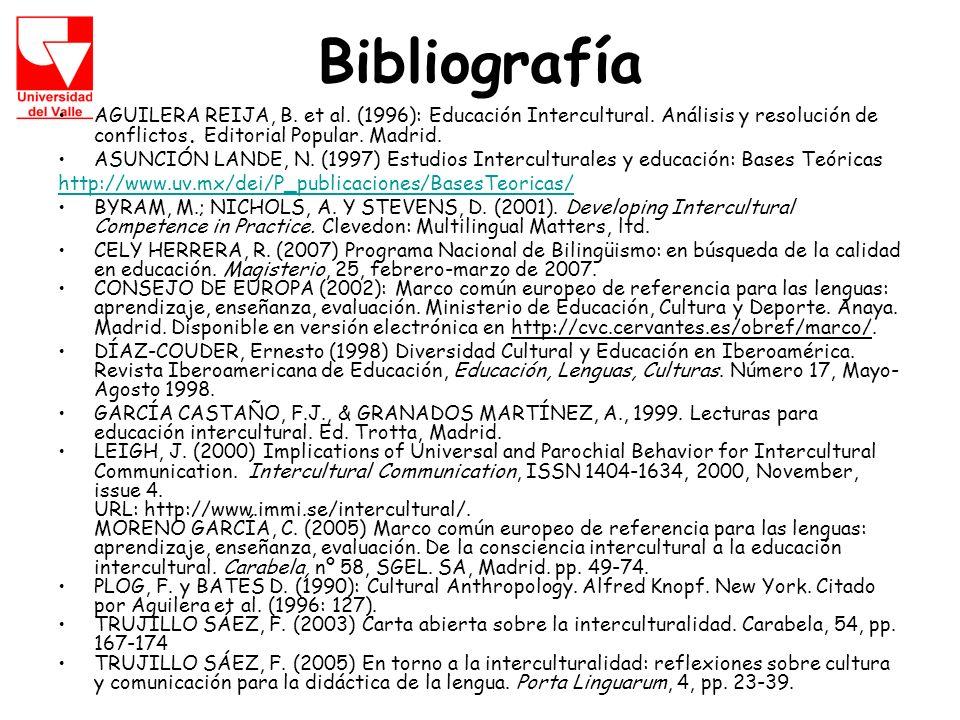 Bibliografía AGUILERA REIJA, B. et al. (1996): Educación Intercultural. Análisis y resolución de conflictos. Editorial Popular. Madrid.