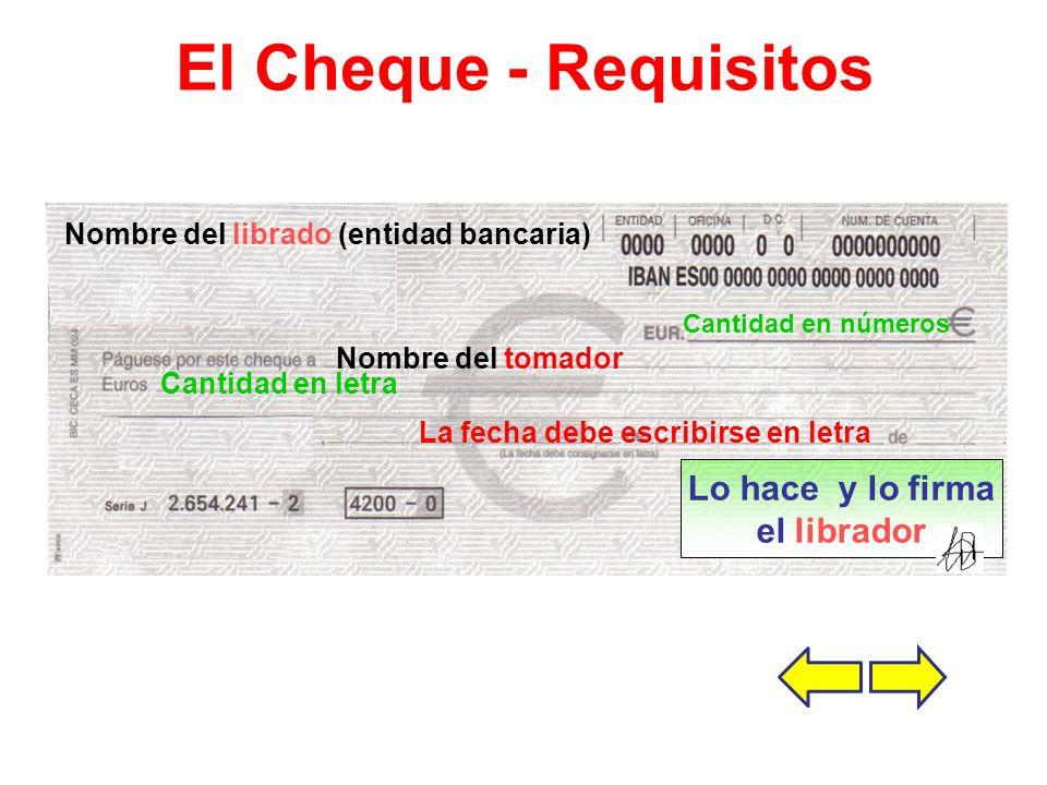 El Cheque - Requisitos Lo hace y lo firma el librador