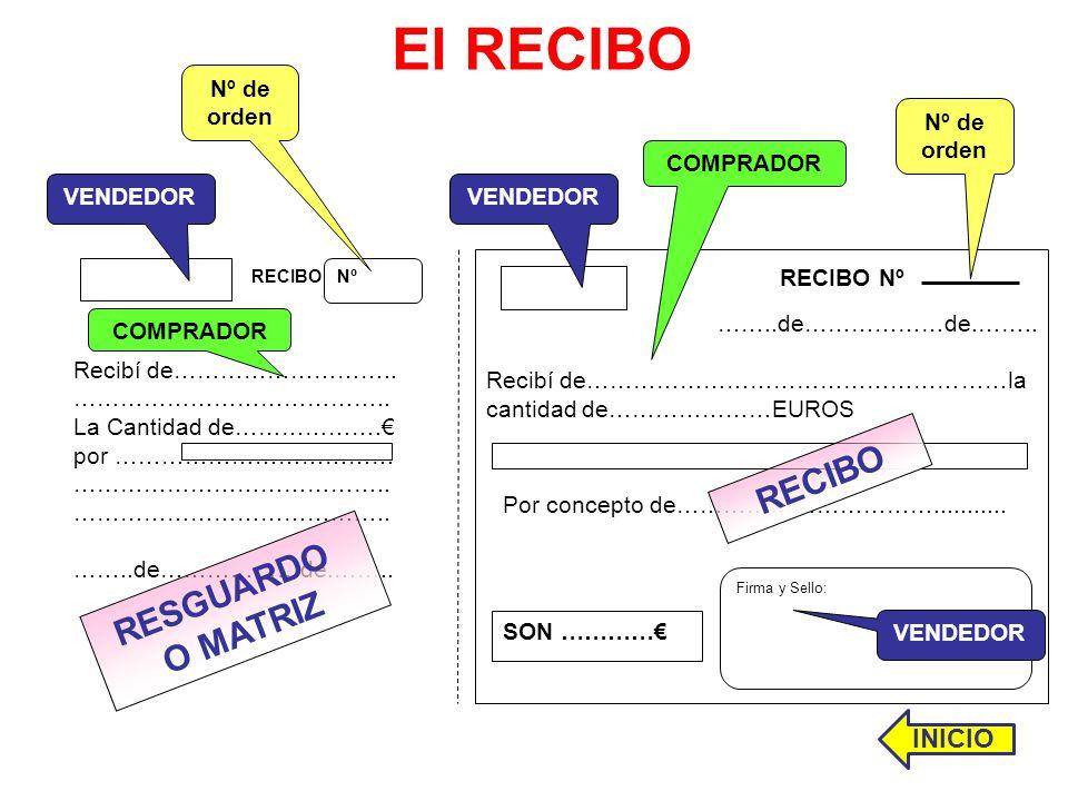 El RECIBO RECIBO RESGUARDO O MATRIZ INICIO Nº de orden Nº de orden