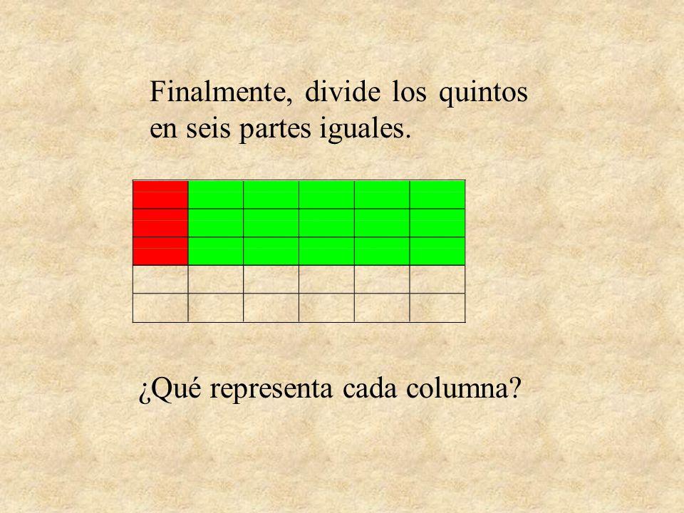 Finalmente, divide los quintos en seis partes iguales.