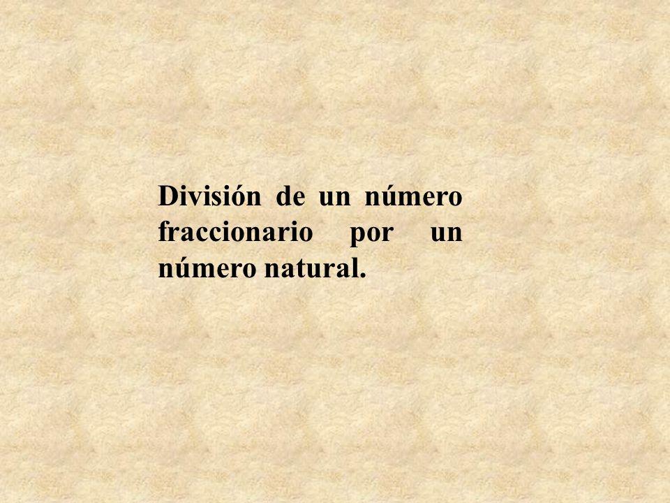 División de un número fraccionario por un número natural.
