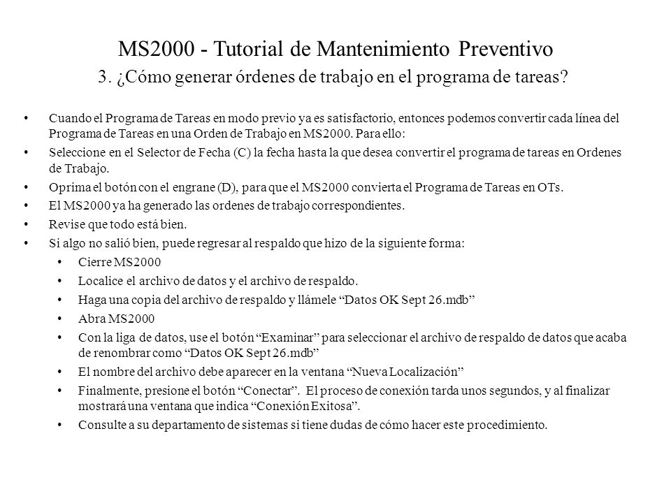MS2000 - Tutorial de Mantenimiento Preventivo