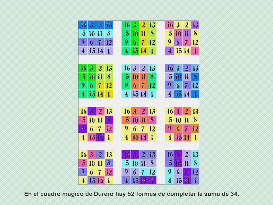 En el cuadro magico de Durero hay 52 formas de completar la suma de 34.