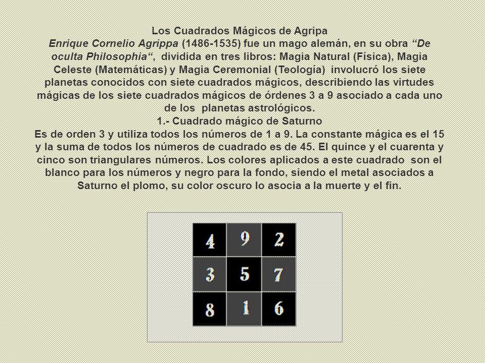 Los Cuadrados Mágicos de Agripa 1.- Cuadrado mágico de Saturno