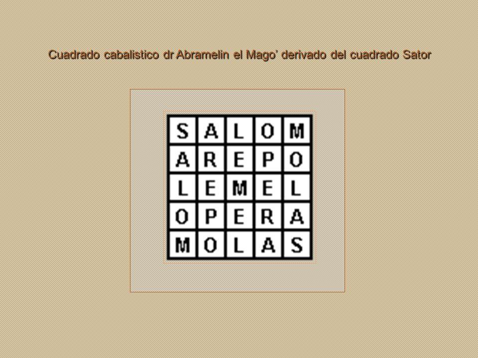 Cuadrado cabalistico dr Abramelin el Mago' derivado del cuadrado Sator