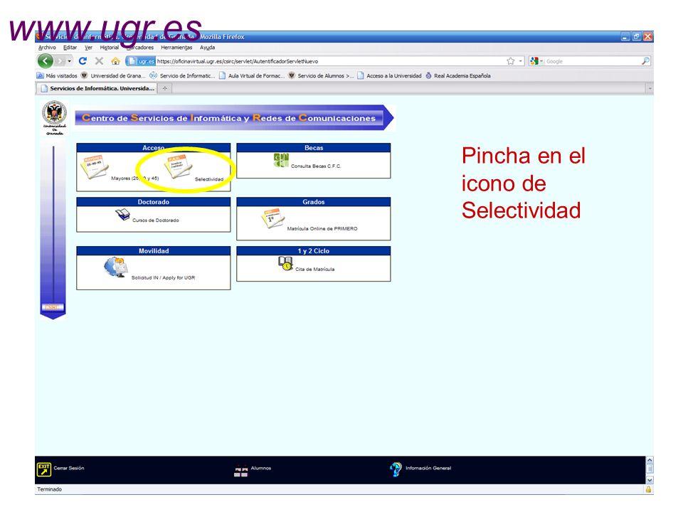 www.ugr.es Pincha en el icono de Selectividad