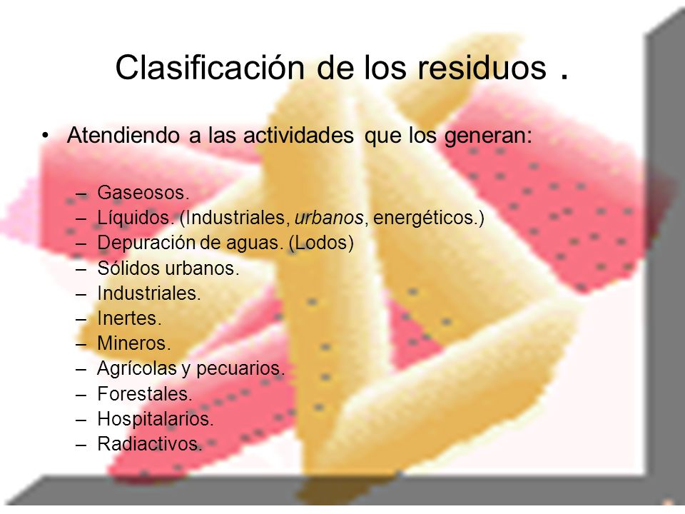 Clasificación de los residuos .