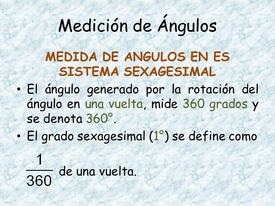 MEDIDA DE ANGULOS EN ES SISTEMA SEXAGESIMAL