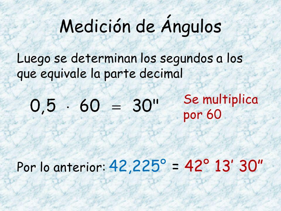 Medición de Ángulos Luego se determinan los segundos a los que equivale la parte decimal Por lo anterior: 42,225° = 42° 13' 30